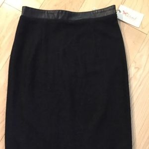 New THML Black Faux Leather Waistband Pencil Skirt